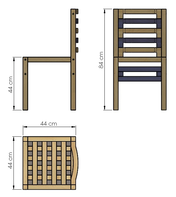 Technical drawing of the chair