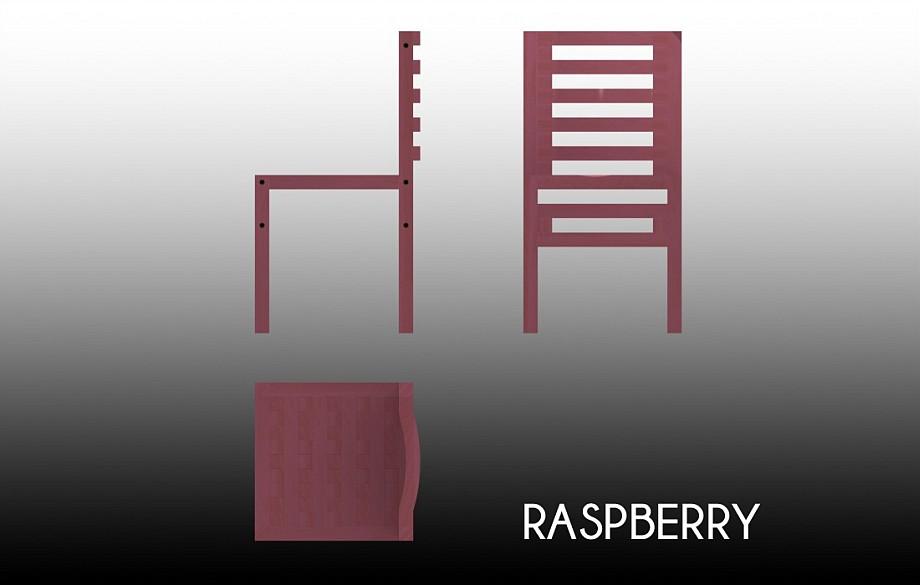 Technical drawing of the Raspberry chair